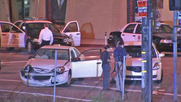 Pursuit suspect hospitalized after shootout