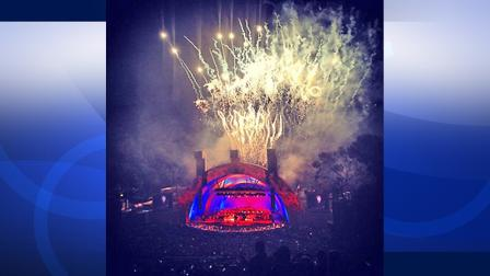 Fireworks at the Hollywood Bowl are seen the night of Friday, Sept. 14, 2012. Photo taken by @ColjaAna on Twitter.