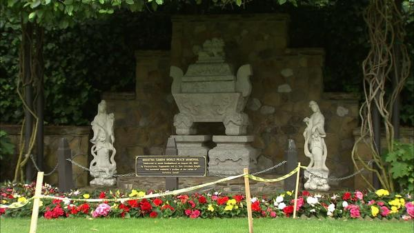 Behind the Golden Lotus Archway, in a 'wall-less temple,' is the Gandhi World Peace Memorial.  Enshrined in the stone sarcophagus is a portion of Mahatma Gandhi's ashes.