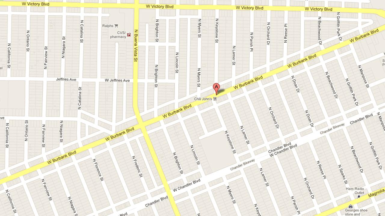 A map indicates the location where a 54-year-old man allegedly exposed himself to a teen girl near Keystone Street and Magnolia Boulevard in Burbank on Wednesday, Sept. 19, 2012.