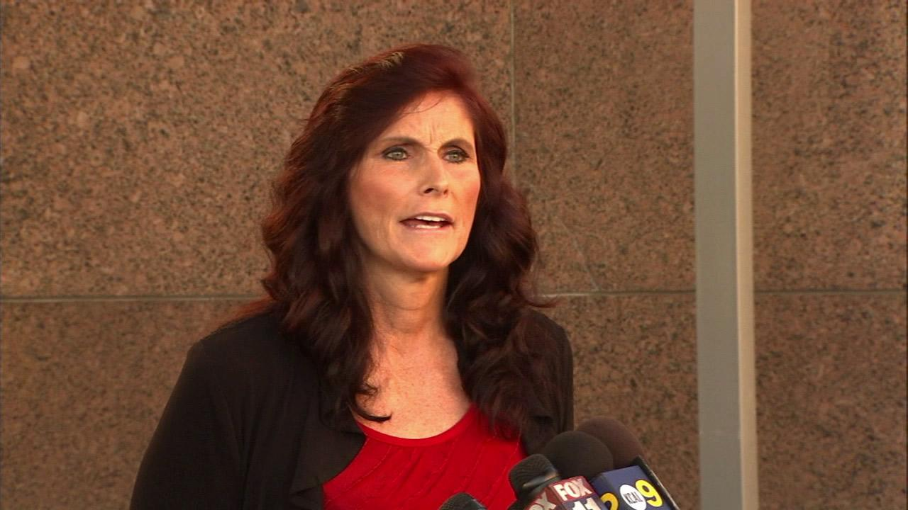 Cindy Lee Garcia speaks to reporters outside a Los Angeles courthouse on Thursday, Sept. 20, 2012.