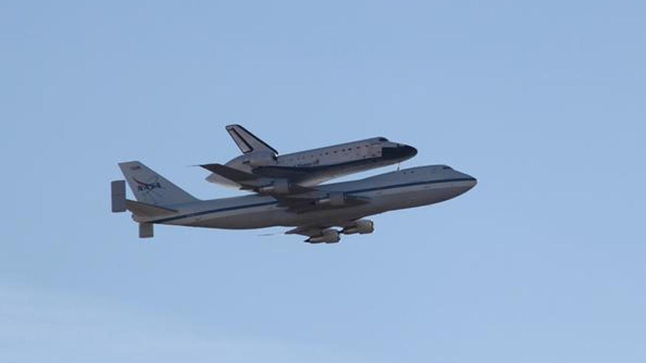 ABC7 viewer Ron Loyola took this photo of space shuttle Endeavour over Lancaster on Friday, Sept. 21, 2012.