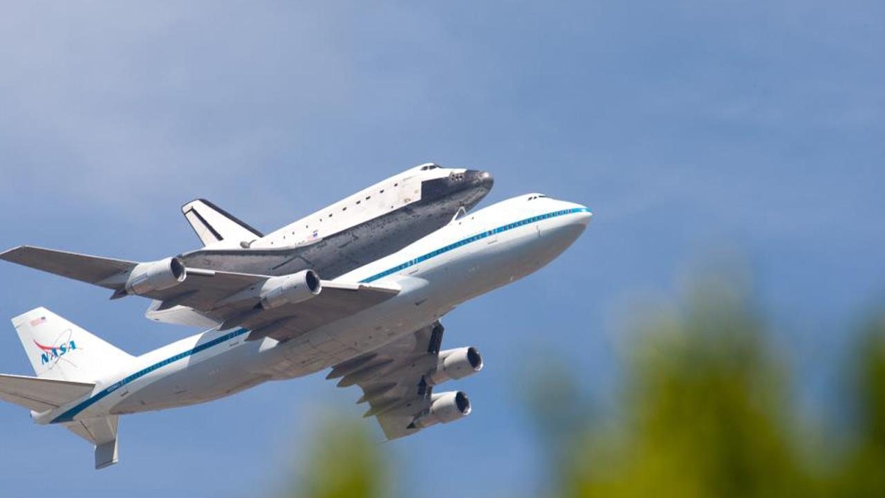 ABC7 viewer Richard Hua took this photo of space shuttle Endeavour flying over Anaheim on Friday, Sept. 21, 2012.