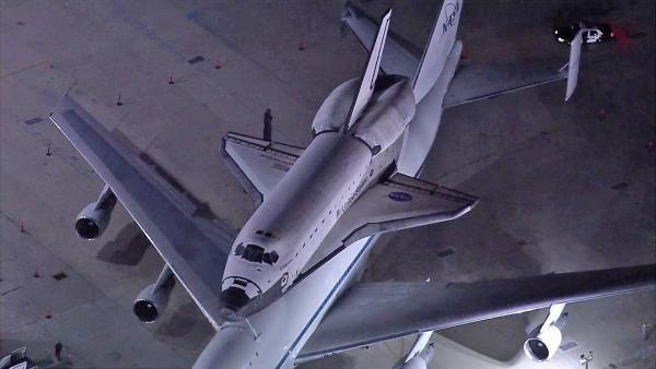 Endeavour spends 1st night at LAX