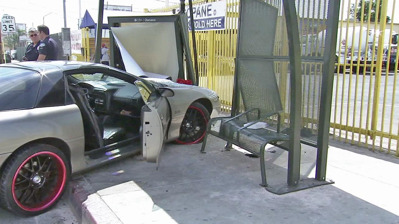 A car crashed into a bus bench in Sun Valley on Saturday, Sept. 22, 2012, injuring two people.