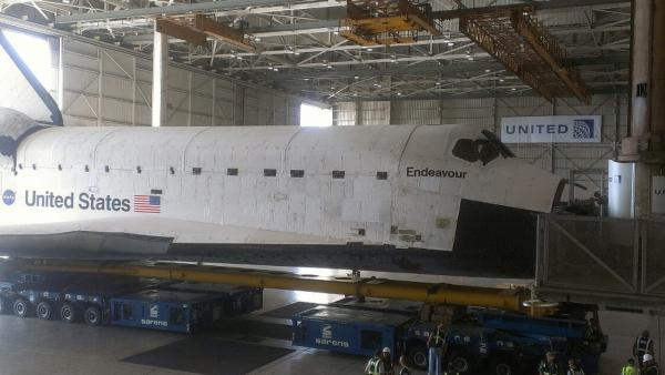 ABC7 viewer Steven Horner took this photo of space shuttle Endeavour inside Hangar Bay 5 at LAX on Saturday, Sept. 22, 2012.