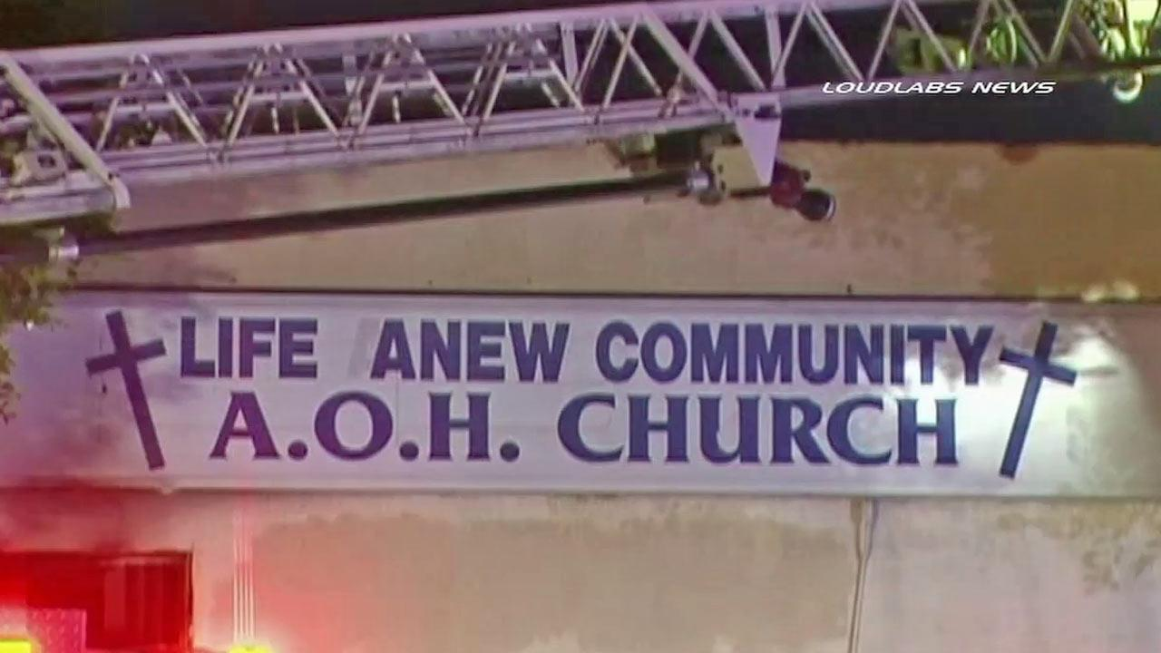 A sign for what used to be the Life Anew Community Church in Compton is shown in this photo taken Saturday, Sept. 22, 2012.