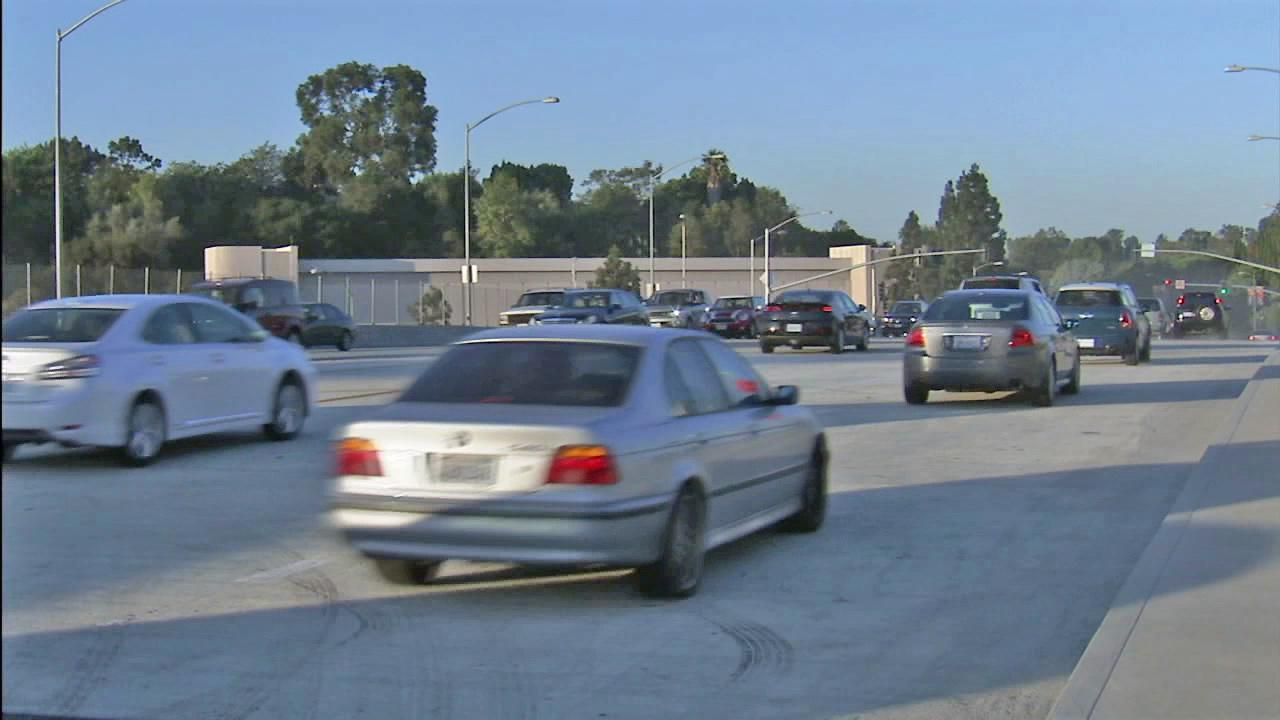 Cars are seen on the Sunset Boulevard Bridge after it reopened for construction on Monday, Sept. 24, 2012.