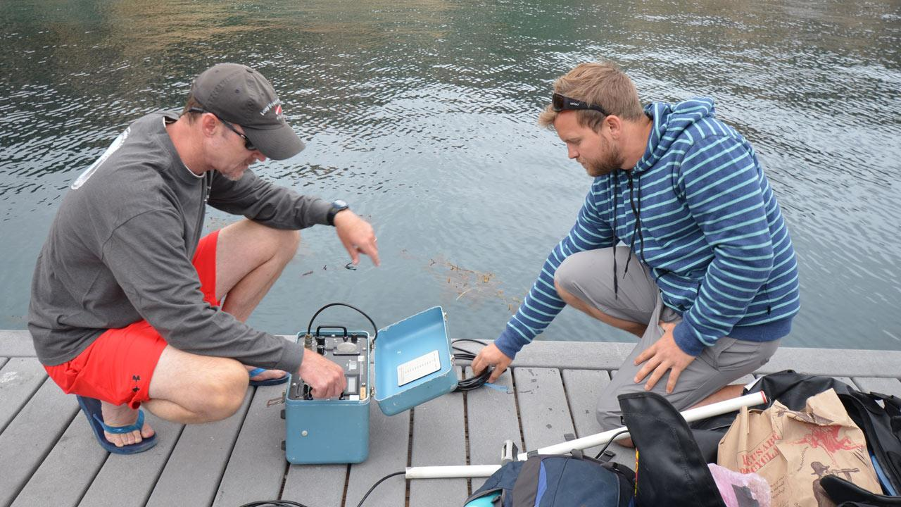 Dr. Chris Lowe and CSULB Marine Biology graduate student Barrett Wolfe are seen in this July 2012 photo taken at Fishermans Cove.Courtesy of Dr. Gwen Goodmanlowe
