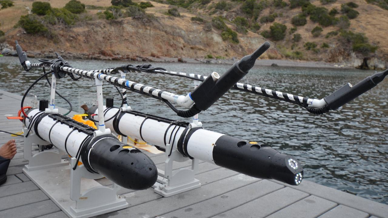 Two of the specially-designed shark-tracking robots dockside off Fishermans Cove. The hydrophones listen for a acoustic transmitter thats temporarily attached to a shark.Courtesy of Dr. Gwen Goodmanlowe