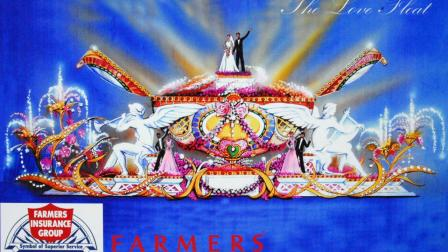 An artist rendering of the Farmers Insurance Love Float is seen.