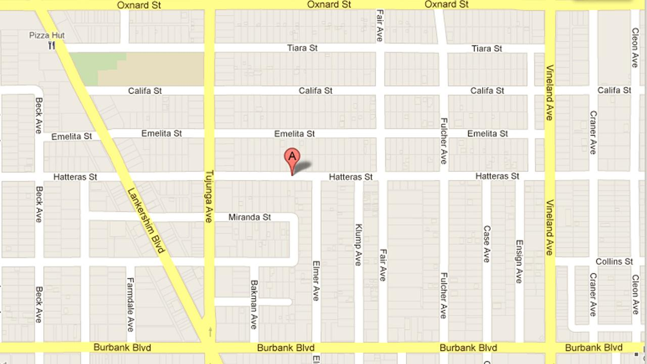This Google Maps image shows the 11300 block of Hatteras Street in North Hollywood, where a man was shot by a group of taggers on Tuesday, Sept. 25, 2012.