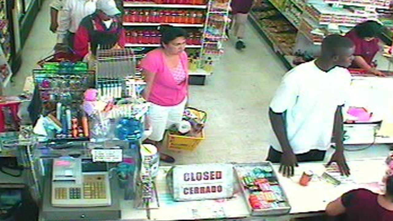 Surveillance camera footage shows a man suspected of snatching a young girls necklace off her neck in the Hollenbeck area on Monday, Sept. 24, 2012.