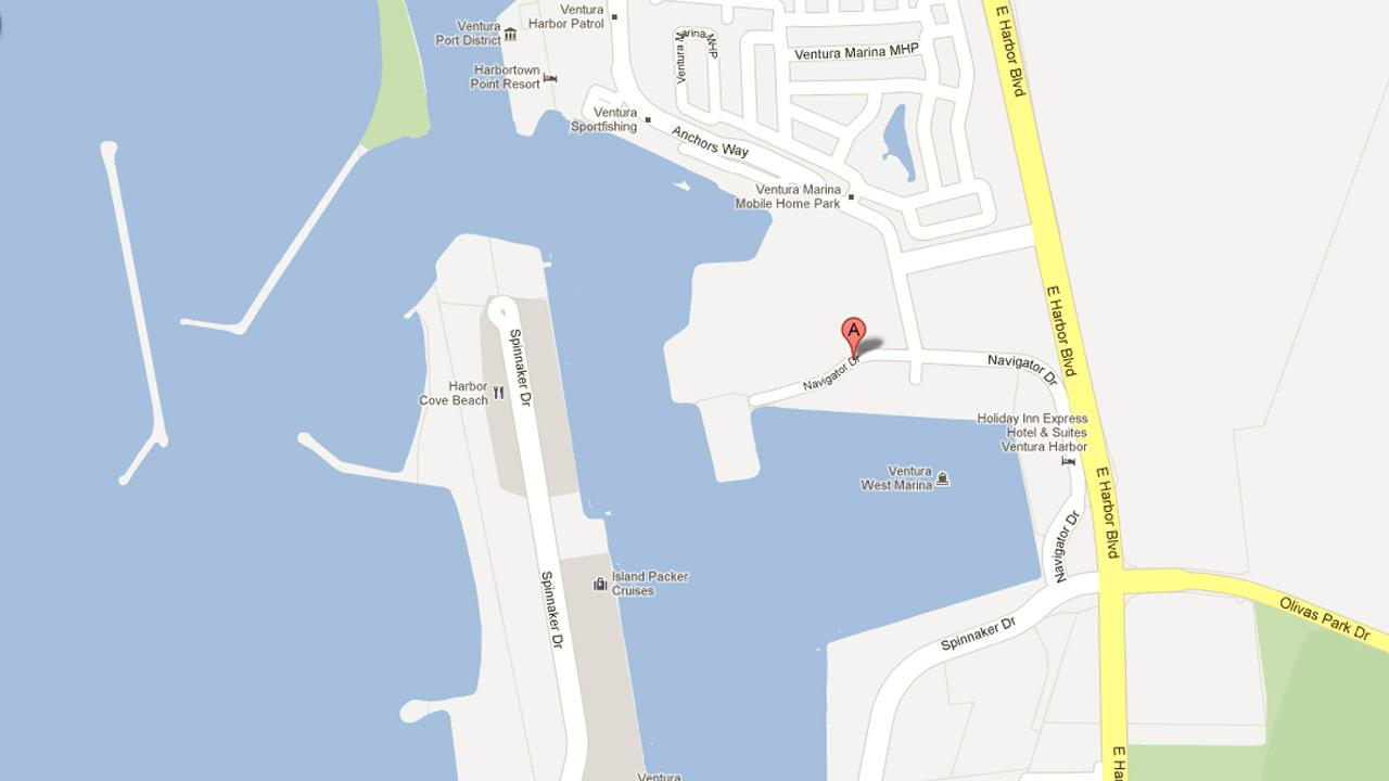 A map indicates the location where a 43-year-old man was rescued from the Ventura Harbor on Wednesday, Oct. 10, 2012.