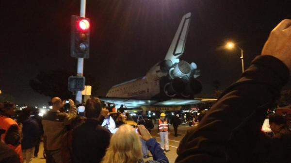 ABC7 viewer Victor Orly took this picture of space shuttle Endeavour leaving Los Angeles International Airport on Friday, Oct. 12, 2012.