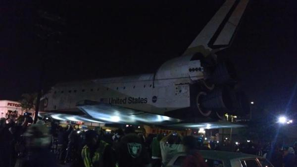 ABC7 viewer Rachel Perkins took this picture of space shuttle Endeavour as it moved through the streets of Westchester on Friday, Oct. 12, 2012.