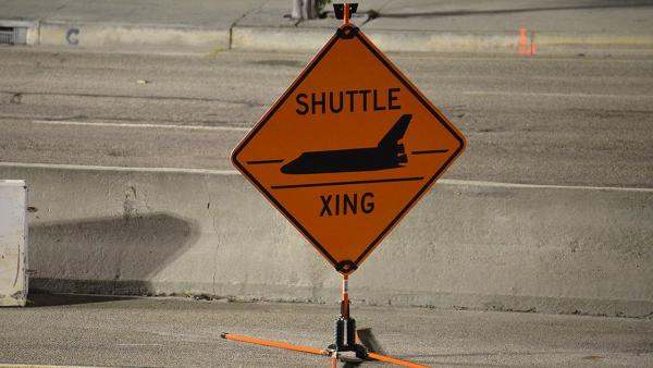Robert Pearlman sent in this picture via Twitter of a street sign that indicates a road closure during space shuttle Endeavour's trip to the California Science Center.