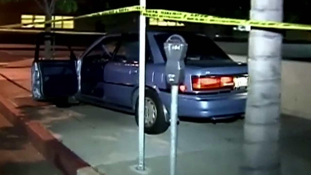 A suspect in a stolen vehicle struck and killed a pedestrian and then crashed the car in Canoga Park on Saturday, Oct. 13, 2012.