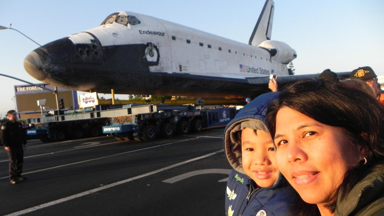 ABC7 viewer Mayson Burton sent in this photo of space shuttle Endeavour on Saturday, Oct. 13, 2012. <span class=meta>(ABC7 viewer Mayson Burton)</span>