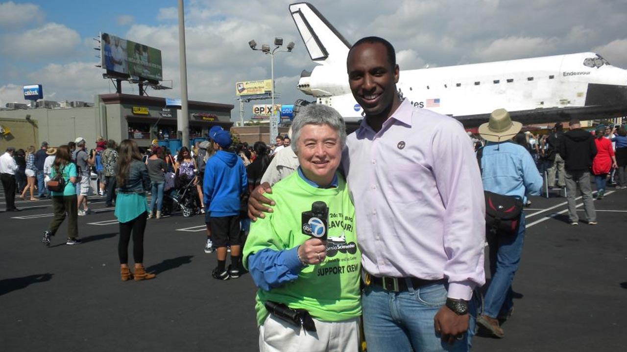 ABC7 viewer Kathy Clements took this picture of space shuttle Endeavour and Eyewitness News reporter Q McCray on Friday, Oct. 12, 2012. <span class=meta>(ABC7 viewer Kathy Clements)</span>