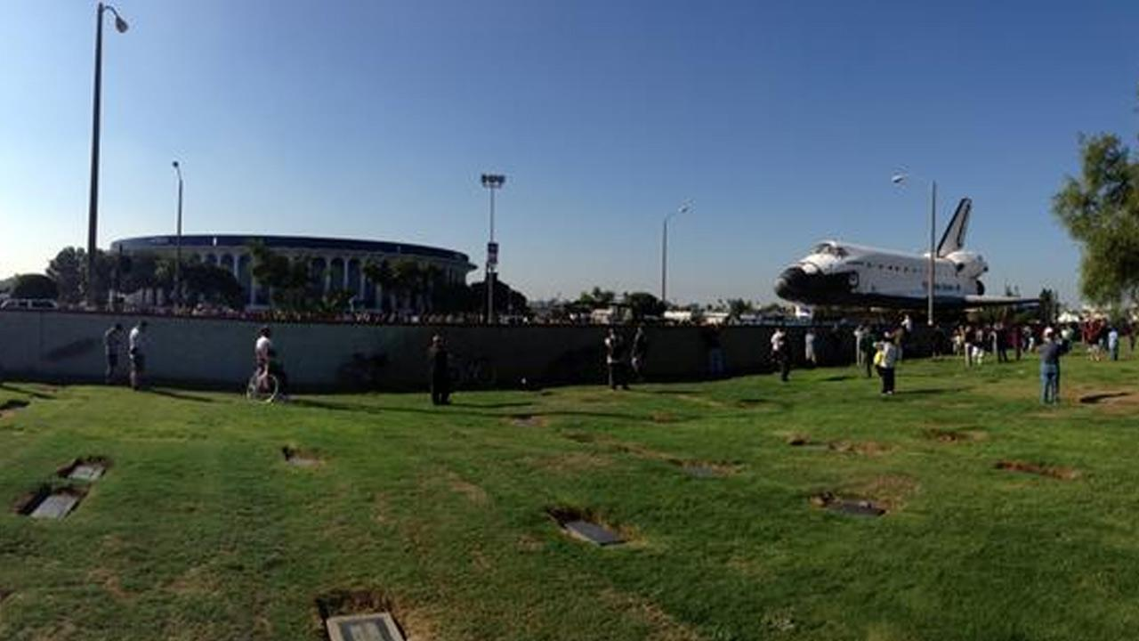 An ABC7 viewer took this picture of space shuttle Endeavour near the Forum in Inglewood on Saturday, Oct. 13, 2012.ABC7 viewer