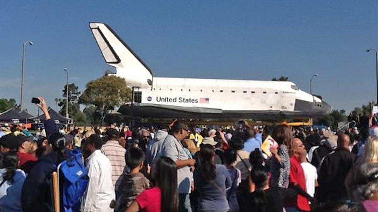 ABC7 viewer Sebastian took this picture of space shuttle Endeavour near the Forum in Inglewood on Saturday, Oct. 13, 2012. <span class=meta>(ABC7 viewer Sebastian)</span>
