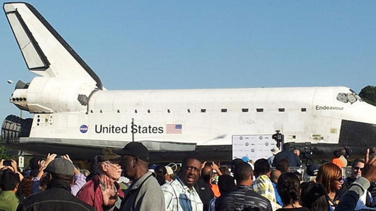 ABC7 viewer Kasey BreeAnn took this picture of space shuttle Endeavour near the Forum in Inglewood on Saturday, Oct. 13, 2012. <span class=meta>(ABC7 viewer Kasey Bree&#39;Ann)</span>