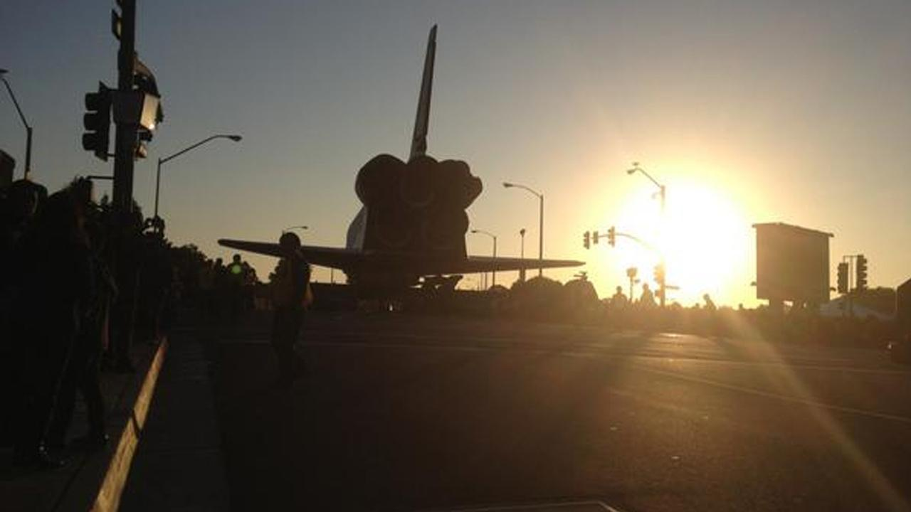 ABC7 viewer Terry took this picture of space shuttle Endeavour on Manchester Boulevard on the way to the Forum in Inglewood on Saturday, Oct. 13, 2012. <span class=meta>(ABC7 viewer Terry)</span>