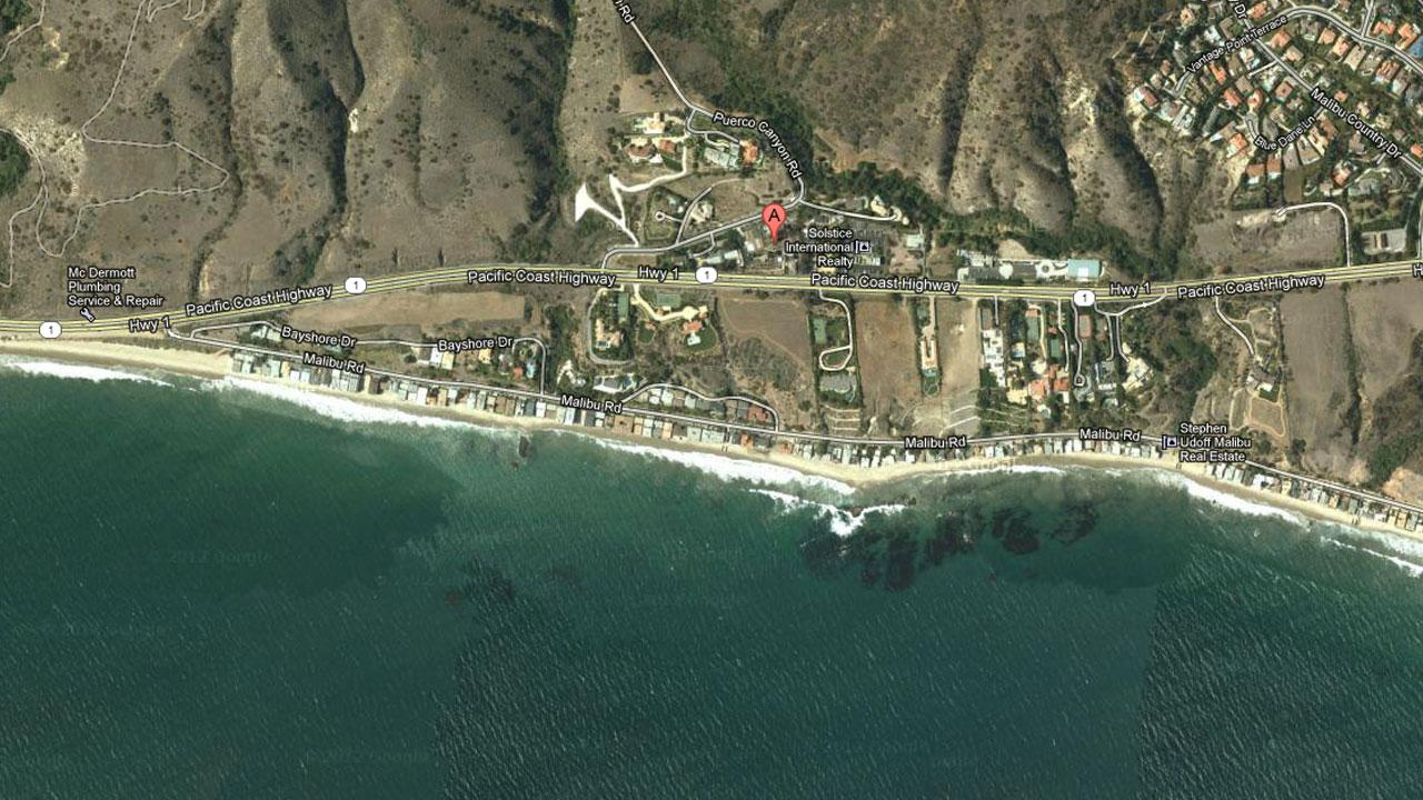 A Google Maps image shows the 25000 block of Pacific Coast Highway in Malibu.