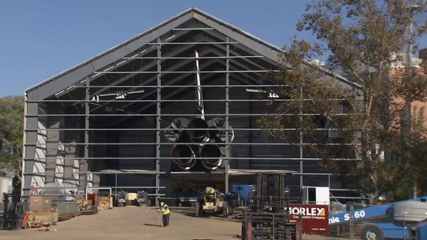 The space shuttle Endeavour rests in its temporary hangar at the California Science Center on Monday, Oct. 15, 2012.