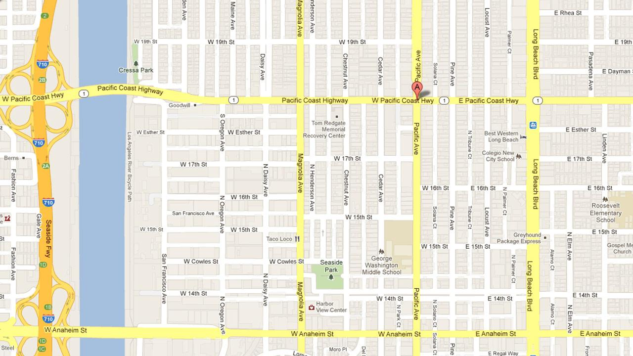 A map shows the location where a man was struck by a Molotov cocktail at a market on Pacific Coast Highway near Pacific Avenue in Long Beach on Friday, Oct. 19, 2012.