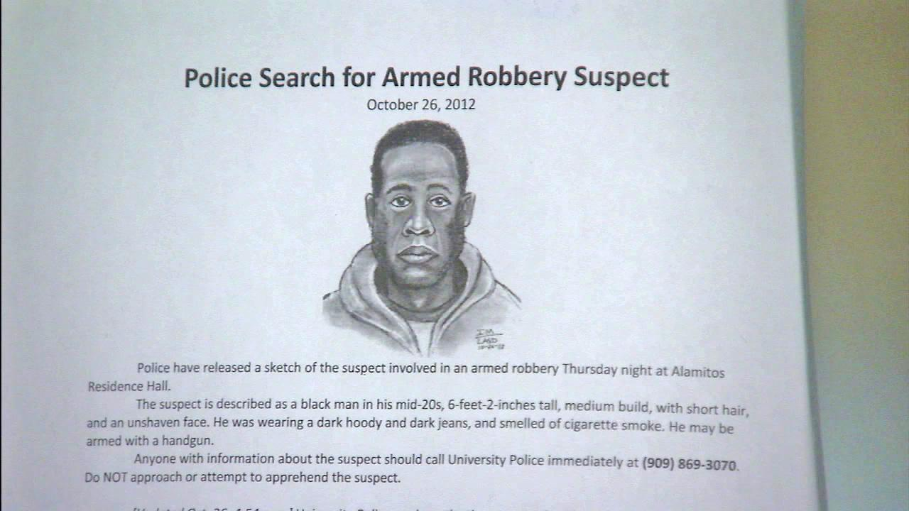 A flier shows a robbery suspect that robbed a student in his dorm room at Cal Poly Pomona.