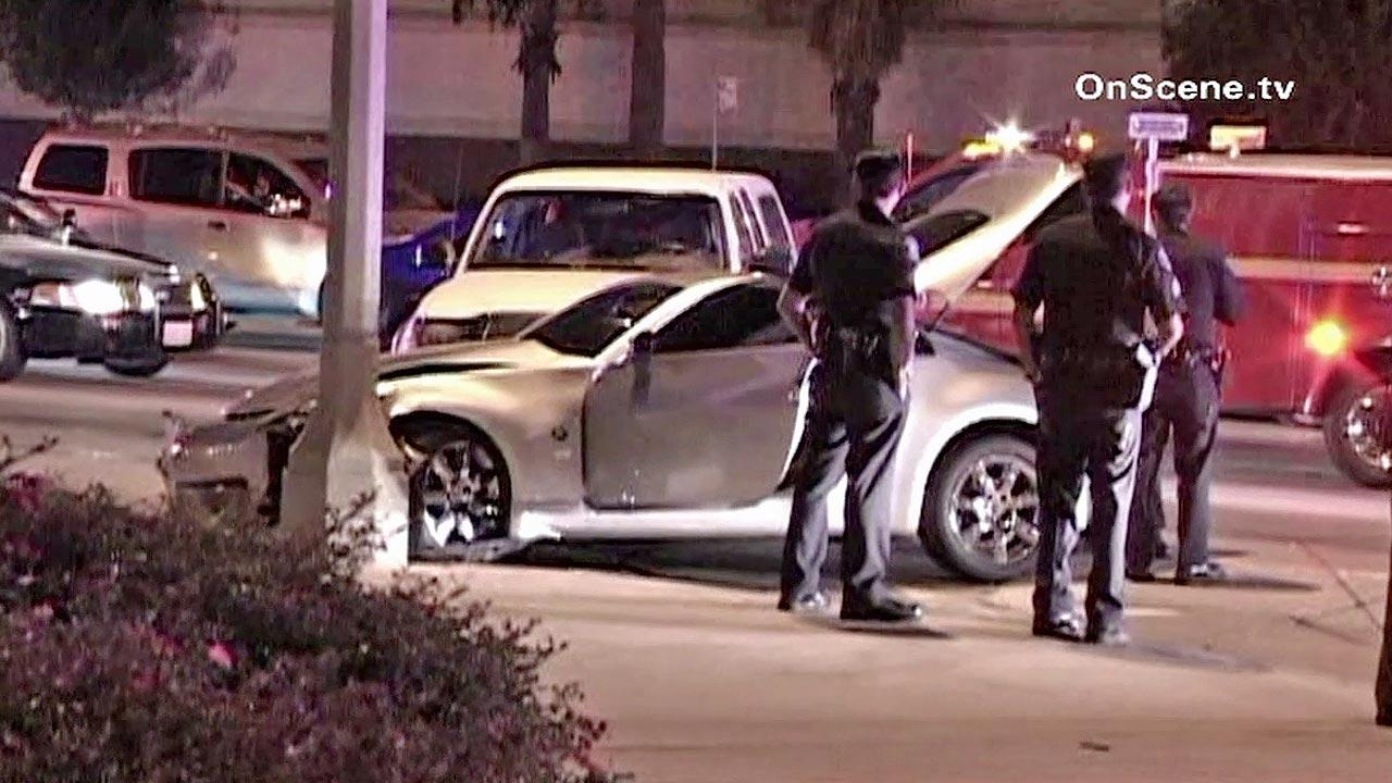 Two cars are shown after crashing in Pico Rivera. One of the cars was driven by a man wanted by police for violating a restraining order in Montebello. He was arrested after the crash on Sunday, Oct. 28, 2012.