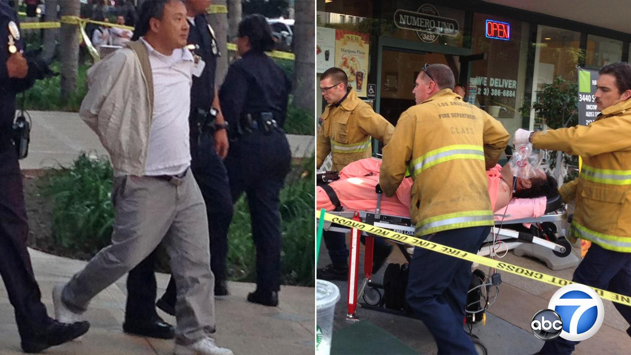 This split photo shows a suspect being led away in handcuffs (Left) in the Koreatown office building shooting on Thursday, Nov. 1, 2012, and the victim (Right), who was transported to a local hospital after being shot multiple times.