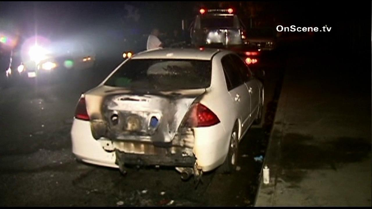 Authorities said a car belonging to a reserve police officer was found torched in El Monte early Thursday, Nov. 8, 2012.