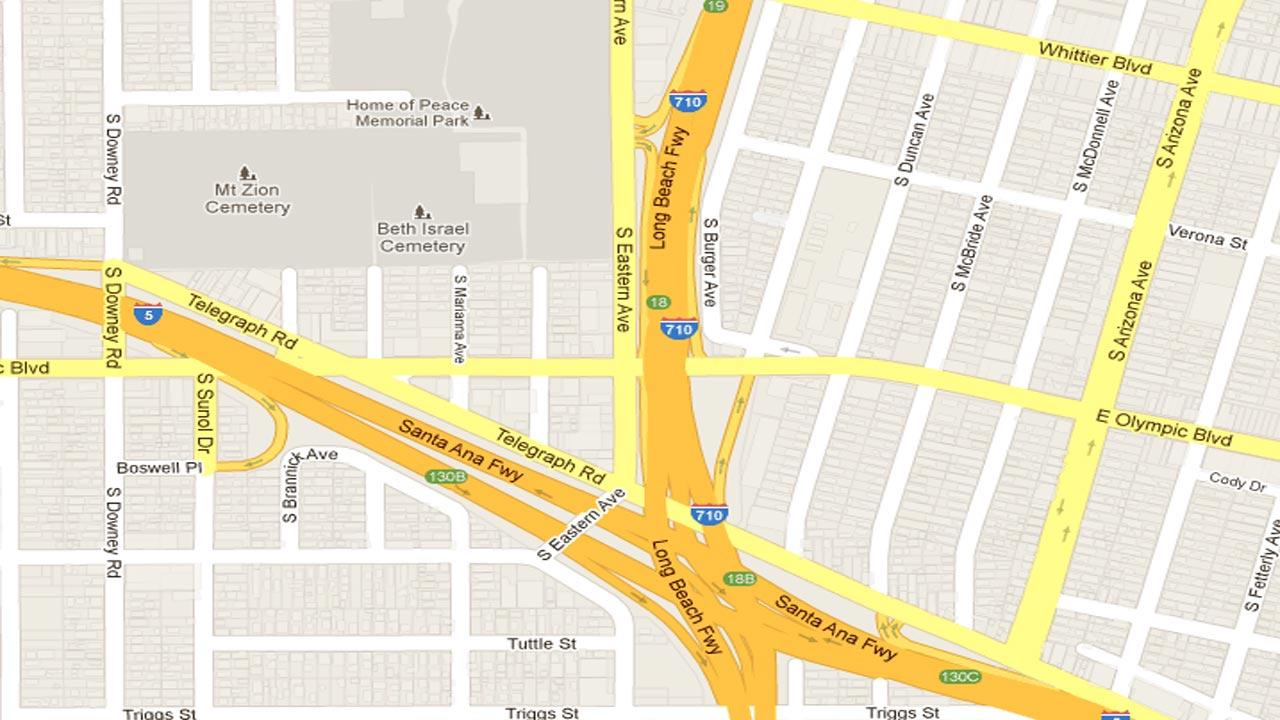 A map indicates where Miguel Angel Campos, 28, crashed a female victims car after carjacking, kidnapping, and sexually assaulting a woman in Whittier on Oct. 26, 2012.