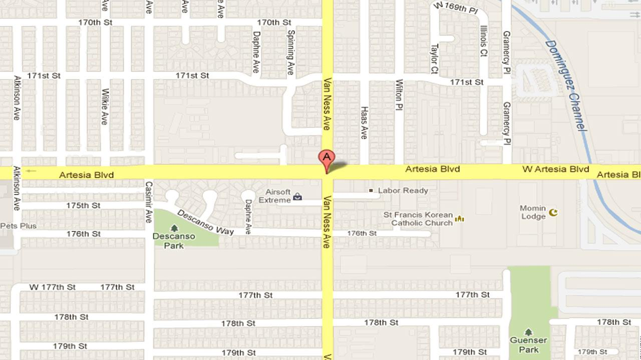 A 31-year-old driver was killed when a car lost control, struck a center divider, and collided with a vehicle in the 2200 block of Artesia Boulevard in Torrance Saturday, Nov. 10, 2012.