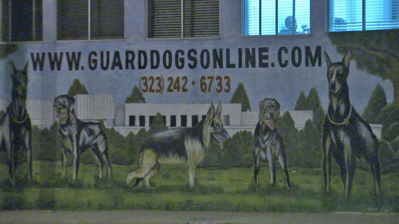 The sign for J.R. Ewing Guard Dogs, located on the 1200 block of El Segundo Boulevard, is shown in this undated file photo.