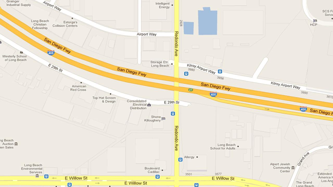 A map indicates the area on Redondo Boulevard near the 405 Freeway overpass in Long Beach where Mark Martineau, 36, Richard McAleavey, 54, and Terrence Harris, 36, were killed after Martineau lost control of his Dodge Ram Saturday, Nov. 17, 2012.