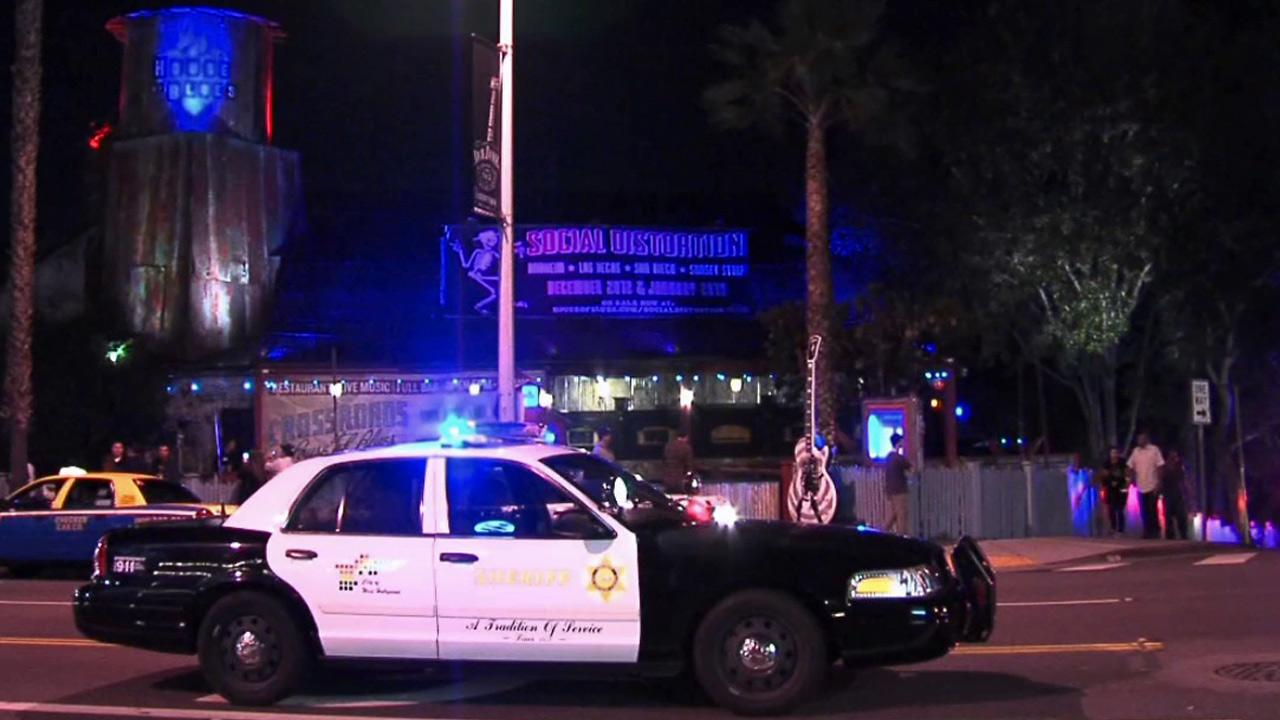 A Los Angeles County Sheriffs Department patrol car is seen in front of the West Hollywood House of Blues, where a stabbing took place on Monday, Nov. 19, 2012.