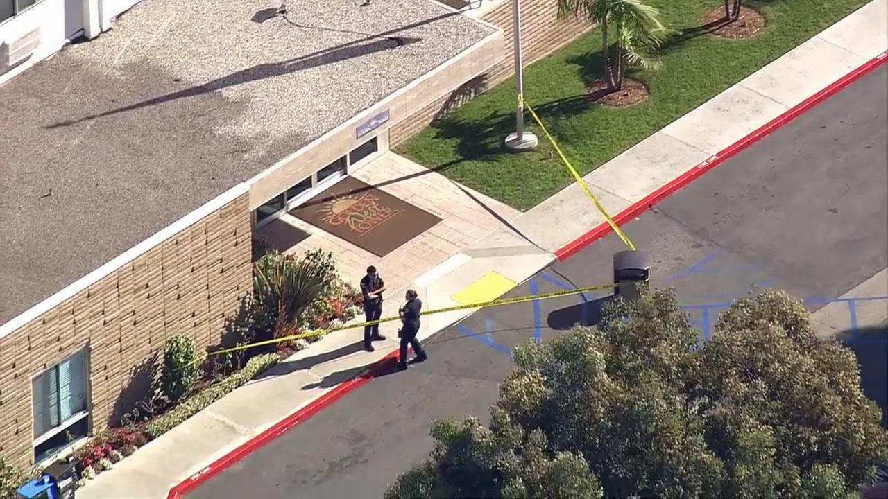 Police investigate a shooting in a high-rise senior citizen complex in Torrance on Tuesday, Nov. 20, 2012.