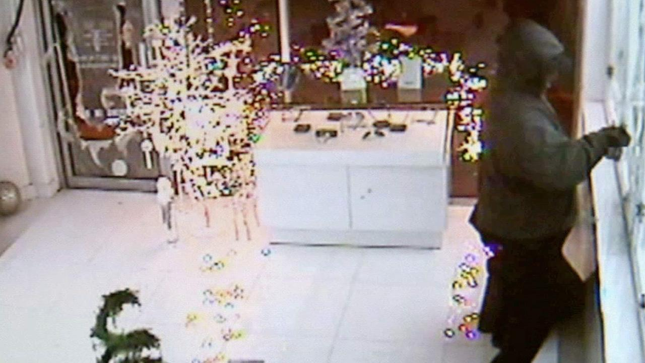 A suspect is shown smashing glass to steal sunglasses from Blue Eyes Optometry in Glendale, Calif.