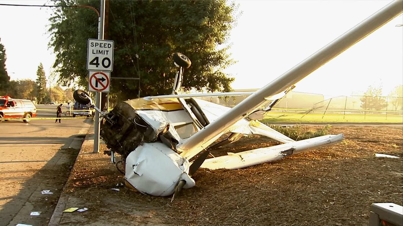Two occupants of a small plane were injured when their aircraft went down on the California State University, Northridge, campus on Sunday, Nov. 25, 2012.