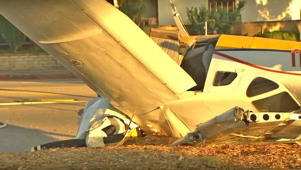 A small airplane with two occupants crashed on the California State University, Northridge, campus on Sunday, Nov. 25, 2012.