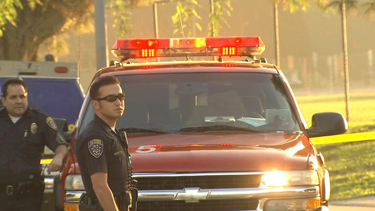 Emergency responders at the scene of a small airplane that crashed on the California State University, Northridge, campus on Sunday, Nov. 25, 2012.