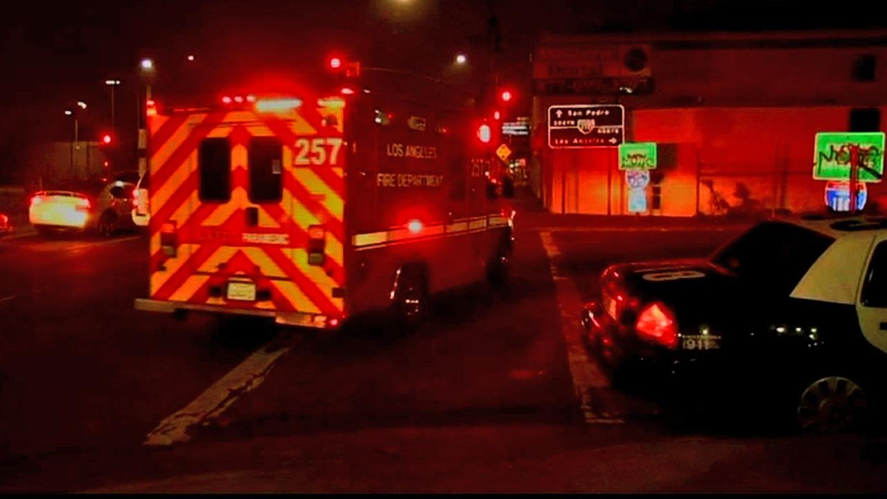 A shooting victim is taken to the hospital in an ambulance after being shot on the 110 Freeway in South Los Angeles on Sunday, Nov. 25, 2012.