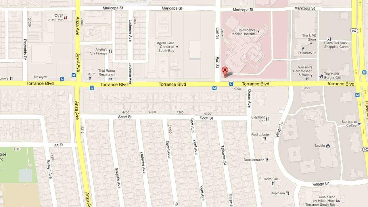 A map indicates the location of Providence Little Company of Mary Hospital in Torrance, the scene of an apparent murder-suicide shooting on Saturday, Dec. 1, 2012.