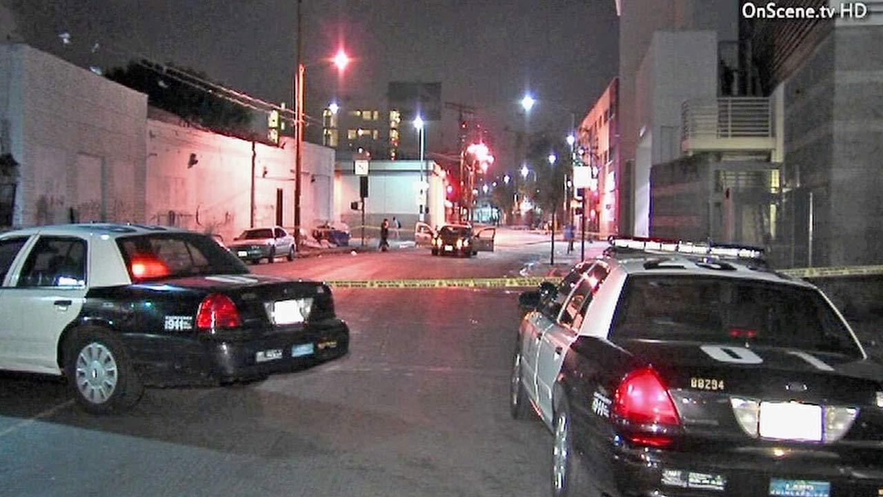 Police responded to a deadly robbery near San Julian and Sixth streets in downtown Los Angeles Monday, Dec. 3, 2012.