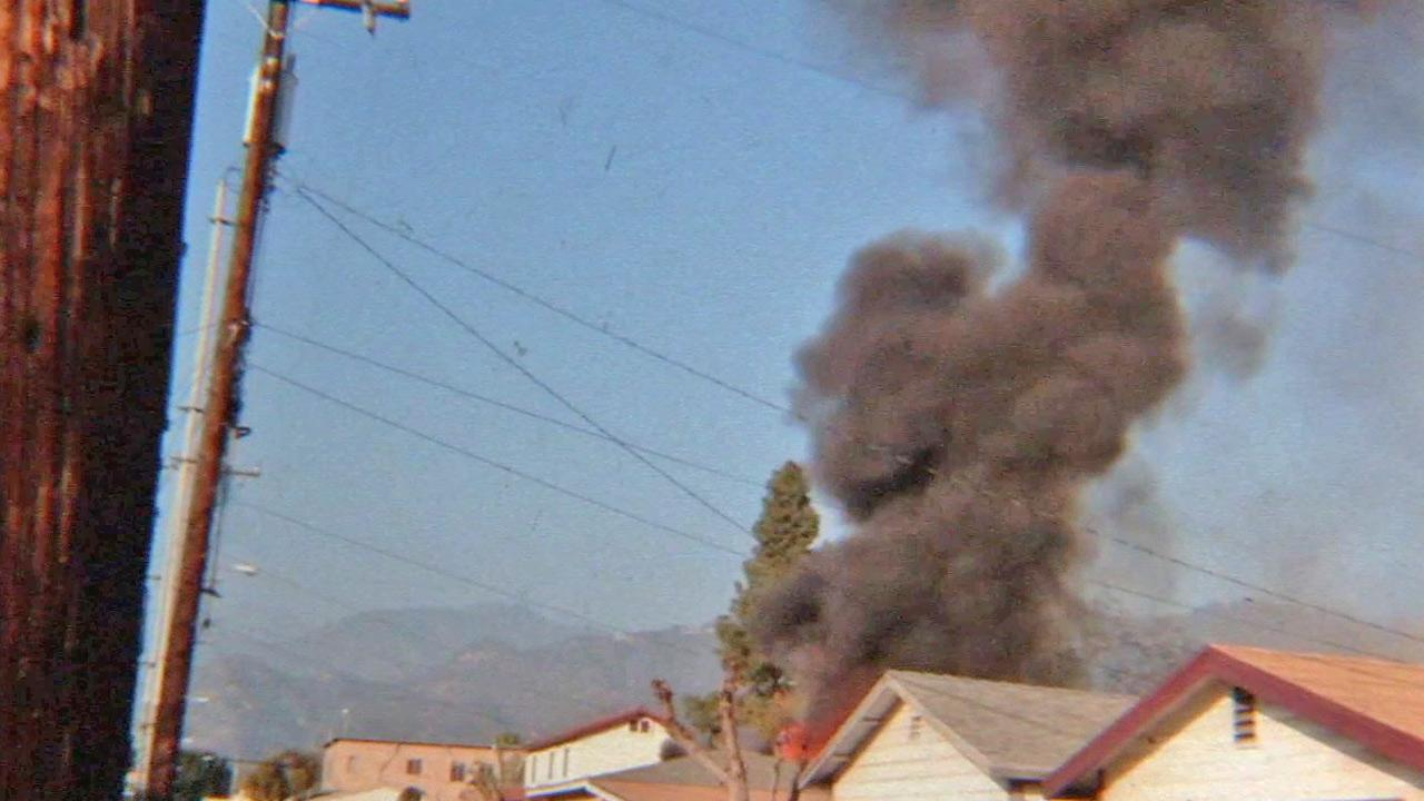 A still from footage shows a structure fire in Azusa on Thursday, Dec. 6, 2012. Three people were found dead following the fire.