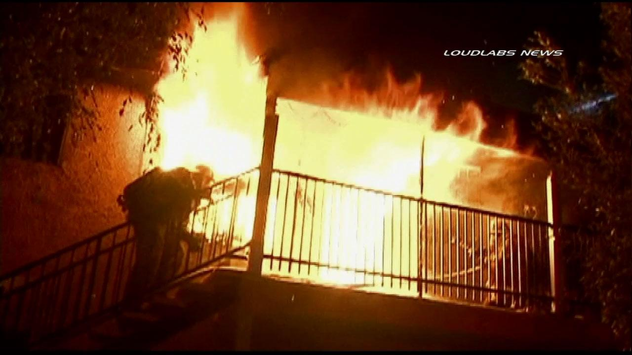 A fire ripped through a South Los Angeles apartment complex in the 8800 block of South Avalon Boulevard Thursday, Dec. 6, 2012 displacing 15 residents.